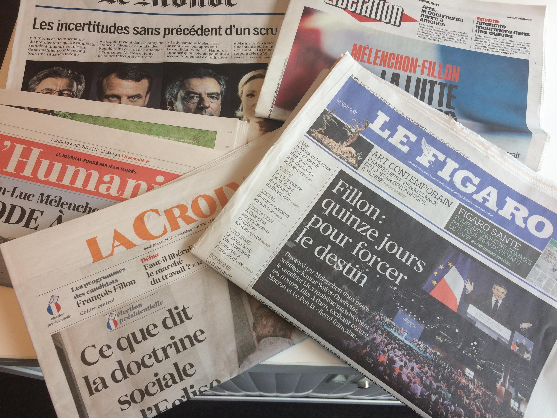 Primeiras páginas dos jornais franceses 10/04/2017