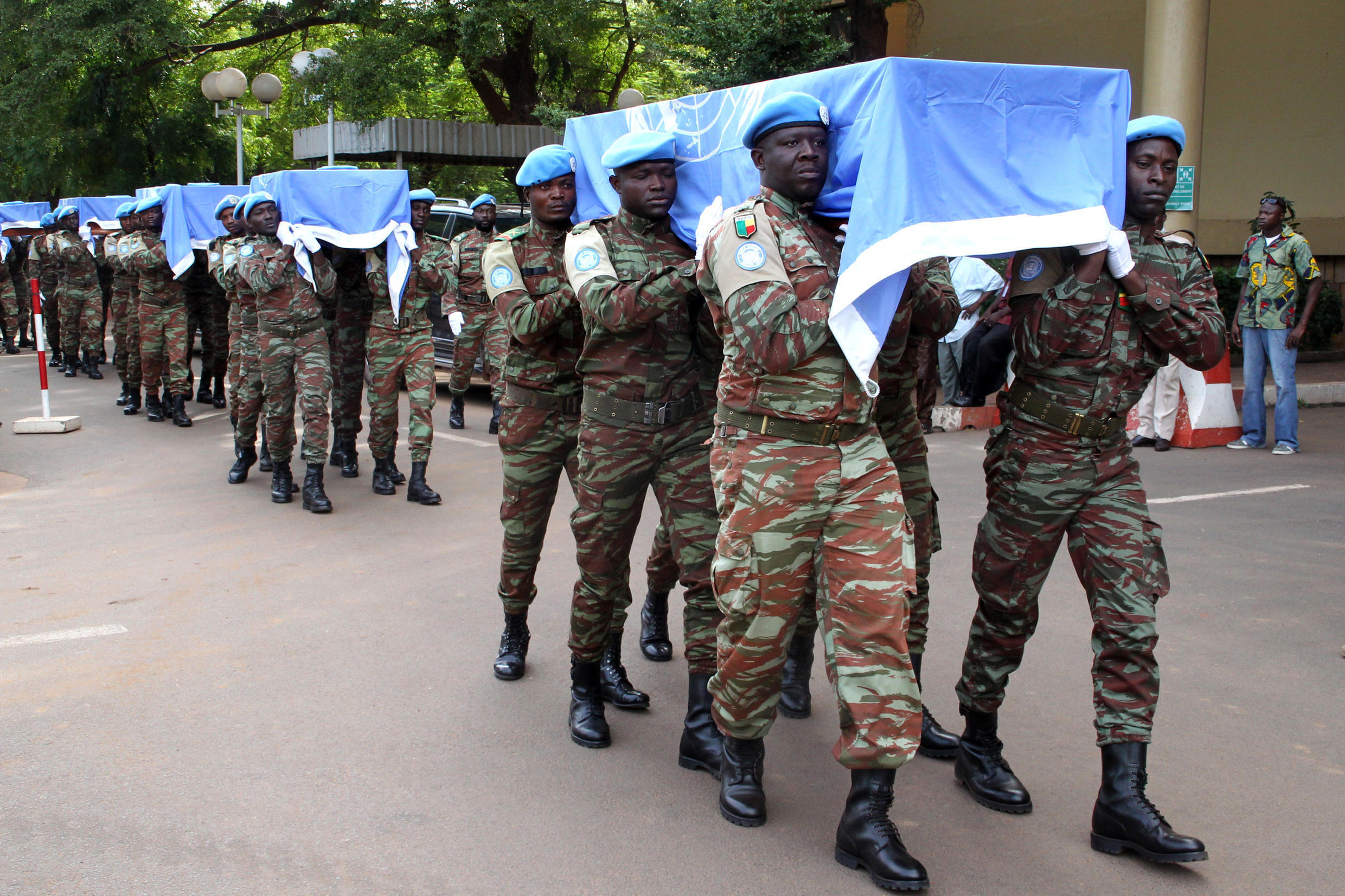 The funeral of nine Minusma troops killed in northern Mali earlier this month in Bamako