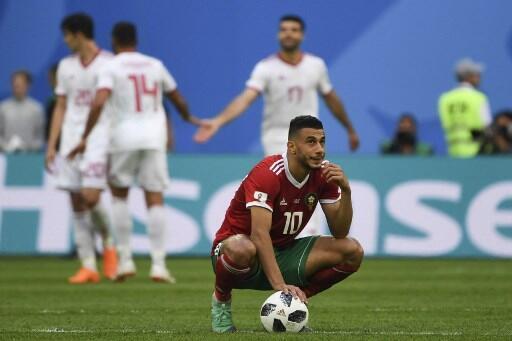 Le Marocain Younès Belhanda après la défaite face à l'Iran, le 15 juin 2018.