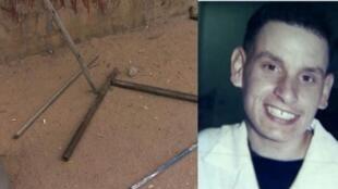 Fotomontagem do torcedor santista, Márcio Barreto de Toledo que faleceu após ter sido espancado com barras de ferro por torcedores paulistanos.