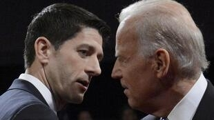 O republicano Paul Ryan (à esq.) e o democrata Joe Biden (à dir.) fizeram um debate enérgico nesta quinta-feira à noite em Danville, no Kentucky.