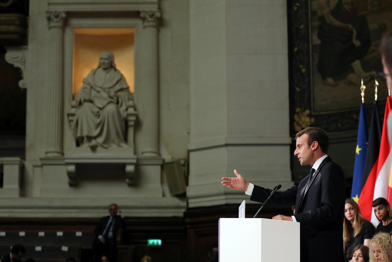 Эмманюэль Макрон в Сорбонне. 26 сентября 2017