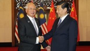 習近平在釣魚台國賓館接見訪華的馬來西亞總理納吉布