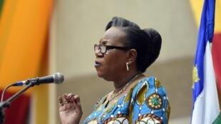 Catherine Samba-Panza lorsqu'elle était présidente de la transition en République centrafricaine.