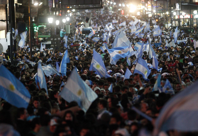 Mashabiki wa Argentina wakiwa mjini Buenos Aires.