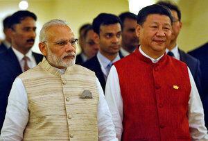 印度總理莫迪與習近平出席金磚五國領導人峰會。2016-10-16