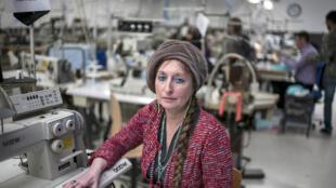 """Founder Muriel Pernin at """"Les Atelières"""" lingerie plant, Villeurbanne, 4 March, 2014"""