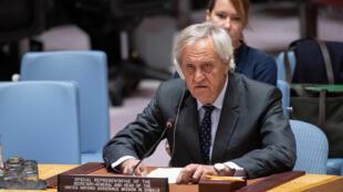 UN envoy Nicholas Haysom briefs the UN Security Council in New York on 3 January 2018.