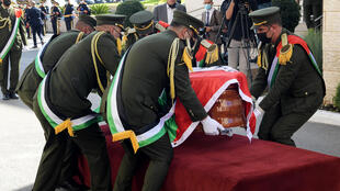 A military memorial ceremony for veteran Palestinian negotiator Saeb Erekat is held at the presidential compound in Ramallah ahead of his burial in his home city of Jericho
