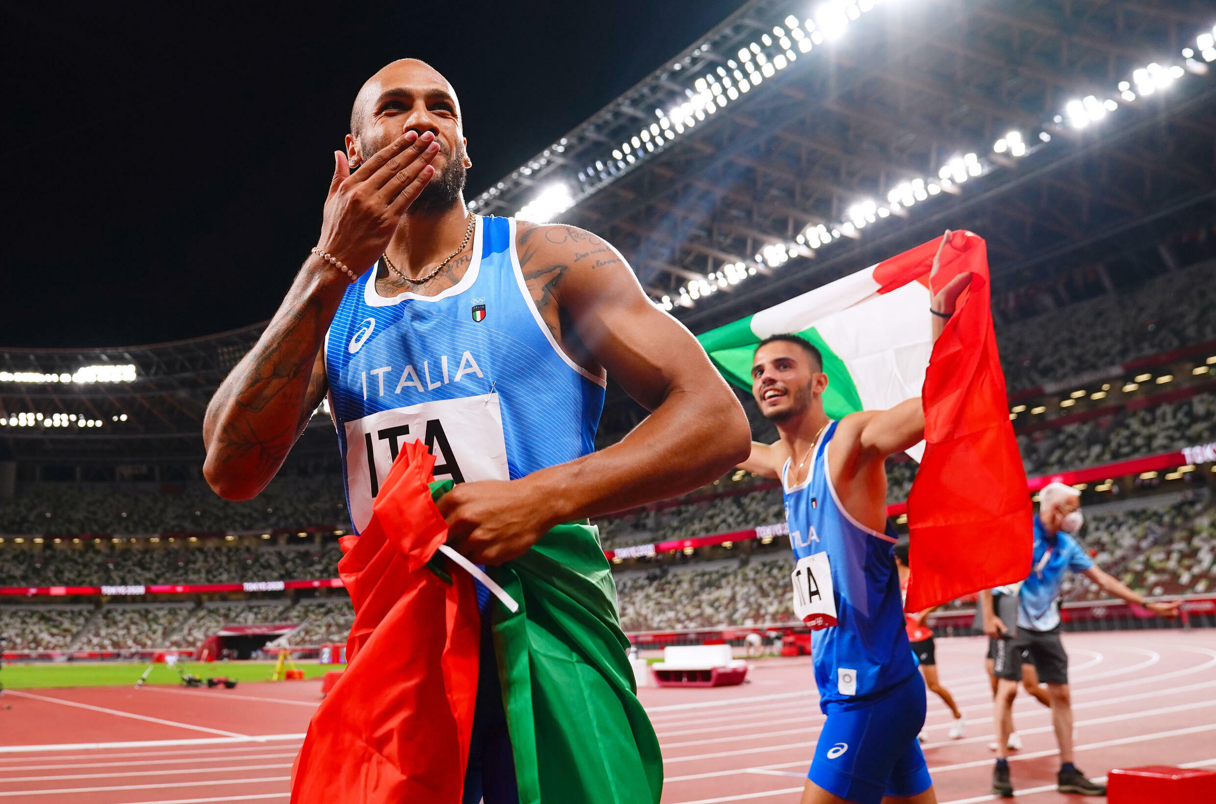 Italy's Lamont Marcell Jacobs also won the men's 4x100m relay at the Tokyo Games