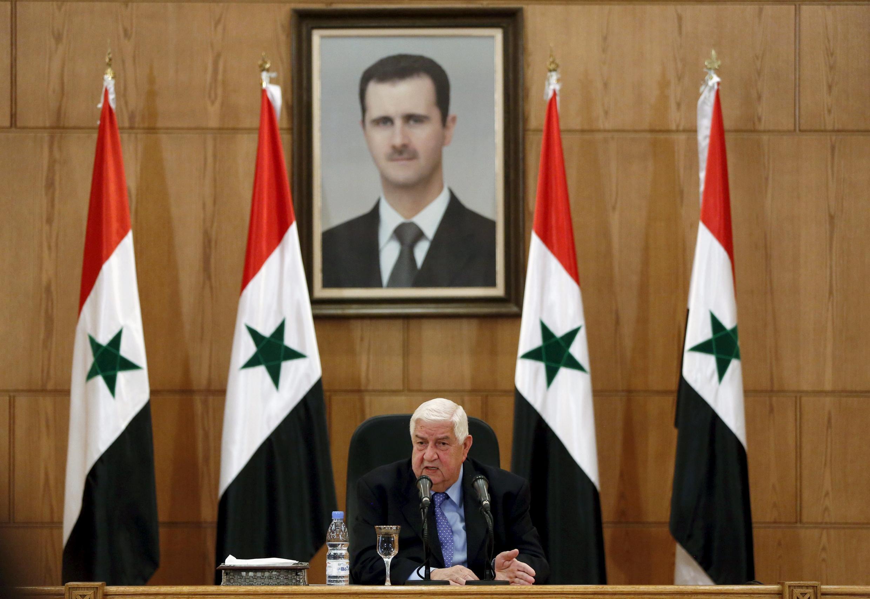 Министр иностранных дел Сирии Валид Муаллем на пресс-конференции в Дамаске, 12 марта 2016 г.