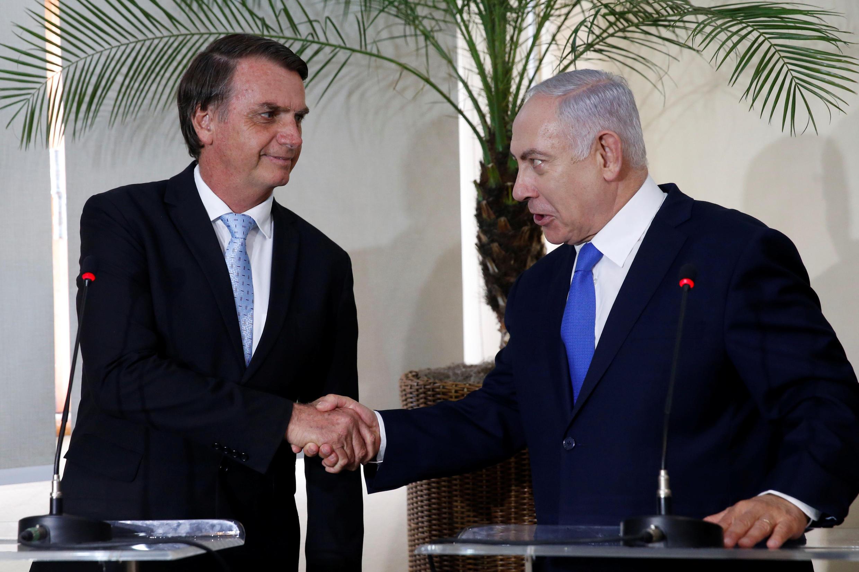 O presidente brasileiro Jair Bolsonaro e o primeiro-ministro israelense Benjamin Netanyahu em janeiro de 2019.