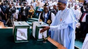 Shugaban Najeriya Muhammadu Buhari, yayin gabatart da kasafin kudi a zauren hadaka na majalisun kasar.