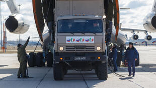 Russian aid arrives in Italy, in total 15 planeloads with 60 tons of cargo each, to help fighting Covid-19.