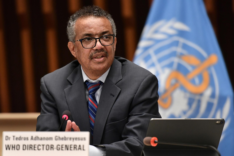 El director general de la OMS, Tedros Adhanom Ghebreyesus, en una rueda de prensa en Ginebra el 3 de julio de 2020