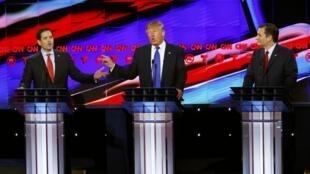 'Yan takarar Republican Marco Rubio da Donald Trump da kuma Ted Cruz.