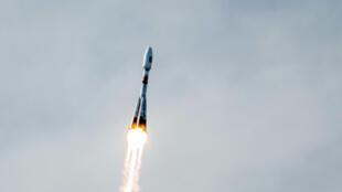 Le lancement d'une fusée Soyouz transportant des satellites Galileo en orbite, en octobre 2012.