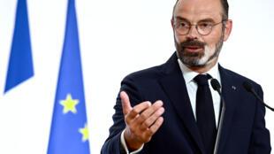 Edouard Philippe, primeiro-ministro francês na apresentação da segunda fase do desconfinamento.
