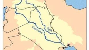 Carte des fleuves Euphrate et Tigre