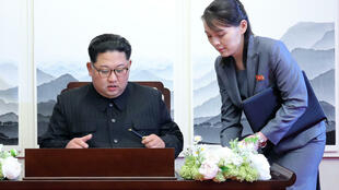 North Korea's leader Kim Jong Un (L) is seen here with his influential sister Kim Yo Jong (R) during a 2018 summit with South Korea's President Moon Jae-in
