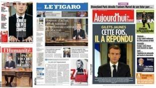 Destaque na imprensa francesa para as medidas anunciadas pelo presidente Emmanuel Macron.