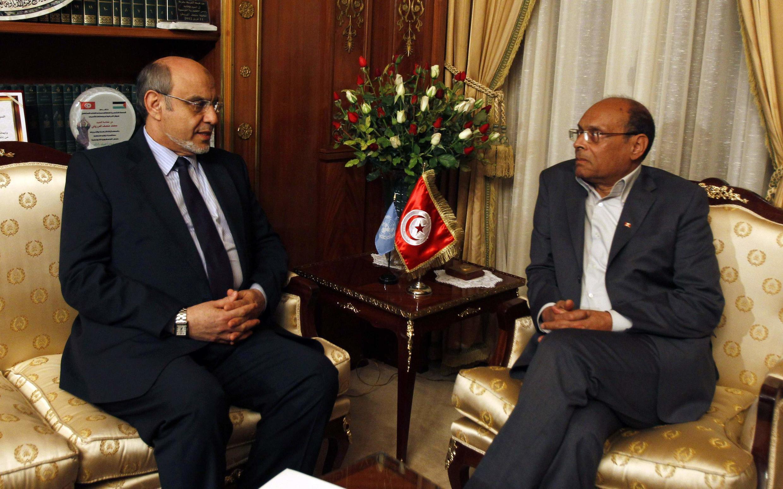 Le président tunisien Moncef Marzouki (à droite) et le Premier ministre démissionnaire Hamadi Jebali, le 19 février 2013.