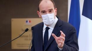 Primeiro-ministro francês Jean Castex durante a sua conferência de imprensa em Paris a 15 de Outubro de 2020.