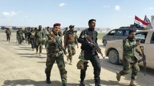 Des forces irakiennes appuyées par des milices chiites, au nord de Bagdad, le 2 mars 2015, au cours d'une offensive massive pour reprendre Tikrit au groupe Etat islamique.