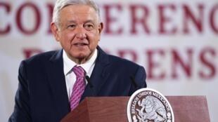El presidente mexicano, Andrés Manuel López Obrador, ofrece una conferencia de prensa en el Palacio Nacional de Ciudad de México, el 29 de junio de 2020