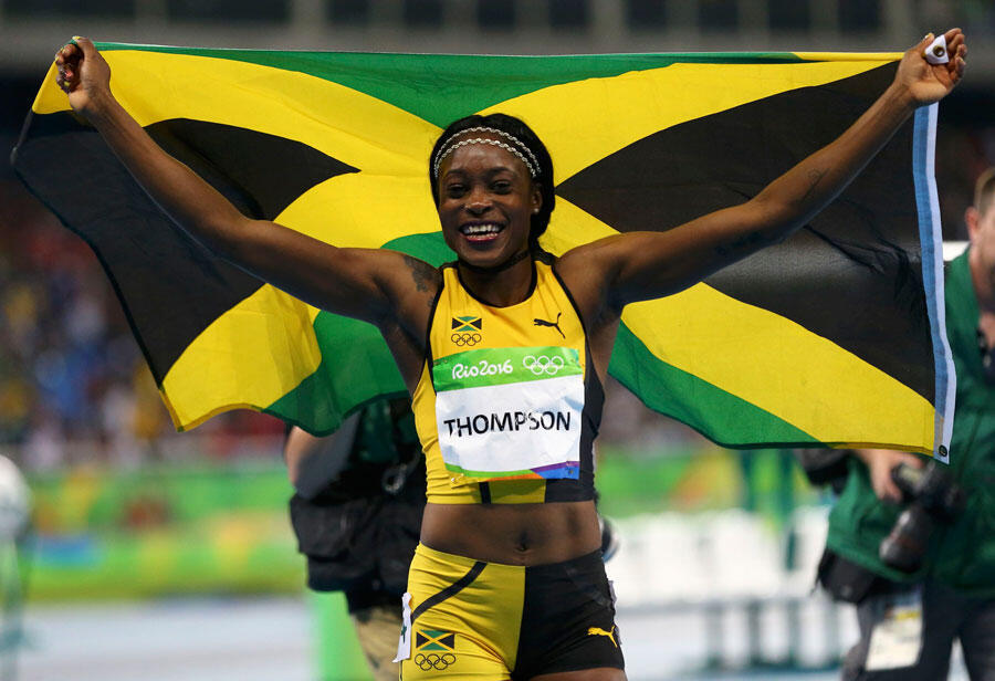 La Jamaïcaine Elaine Thompson, lors de sa victoire aux 100m femmes aux JO de Rio, Brésil, le 13 août 2016.