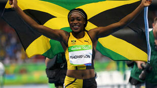 La Jamaïcaine Elaine Thompson, remporte la médaille d'or des 100 m femmes aux JO de 2016. Satde olympique, Rio de Janeiro, Brésil - 13/08/2016.