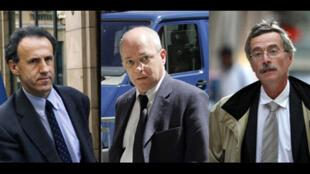 Les juges français : Henri Pons (g), Jean-Marie d'Huy (c) et Renaud Van Ruymbeke (d).