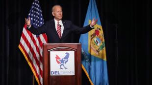 L'ancien vice-président Joe Biden lors de son discours, samedi 16 mars, face à un millier de militants à Dover, dans l'État qu'il a représenté pendant plus de trente ans au Sénat.
