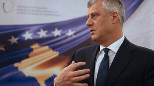 Kosovo's President Hashim Thaçi speaks during an interview with Reuters in his office in Pristina, Kosovo, February 13, 2018.
