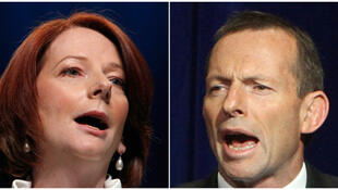 Julia Gillard (L) and Tony Abbott (R)