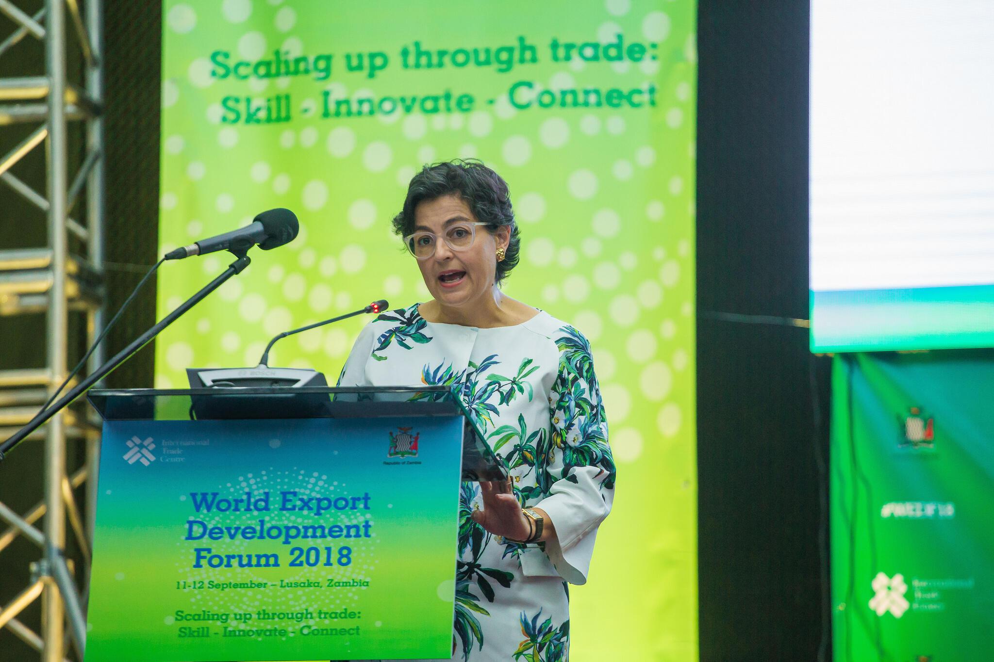 Arancha González at the opening of the World Export Development Forum in Lusaka, 9 September 2018.