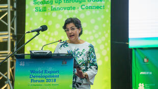 Arancha González at the opening of the World Export Development Forum in Lusaka, 9 September 2018.
