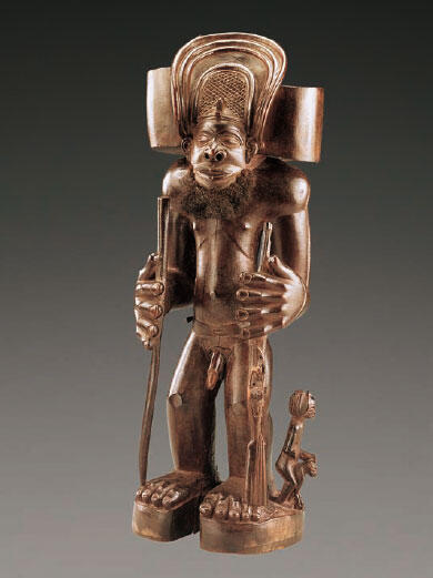 Statuette représentant le héros mythique Chibinda Ilunga Bois (Uapaca sp.), cheveux et pigments.
