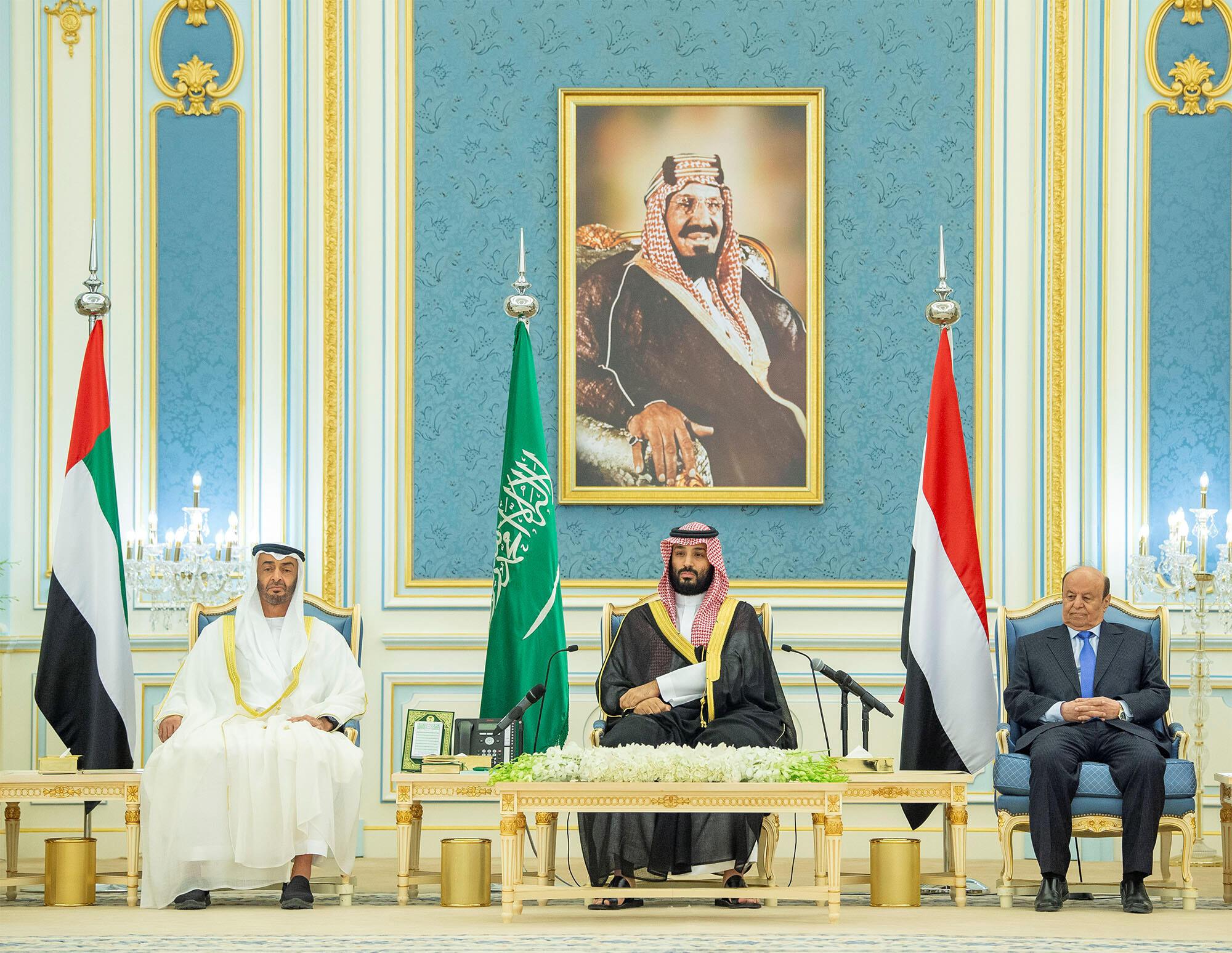 Taron sulhunta rikicin Yemen a Saudiya tareda  Mohammed ben Zayed, Mohammed ben Salman na Saudiya da Shugaban yemen a Riyad.