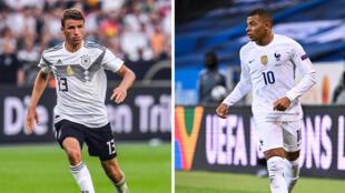Combo réalisé le 13 juin 2021 avec une photo de Thomas Müller à Leverkusen le 8 juin 2018 et une autre de Kylian Mbappé à Solna le 5 septembre 2020 France will face Germany in a UEFA EURO Group F fotball match on June 15, 2021.
