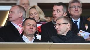 Oleg Petrov (left) attended the Monaco match against Nantes on 16 February with club president Dmitri Rybolovlev (right).