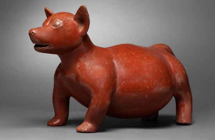 Escultura de barro rojo de Colima que data de entre -100 y 250 DC.