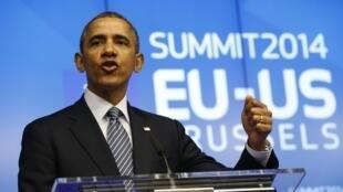 Coletiva de imprensa do presidente americano, Barack Obama, em Bruxelas nesta quarta-feira, 26 de março de 2014.