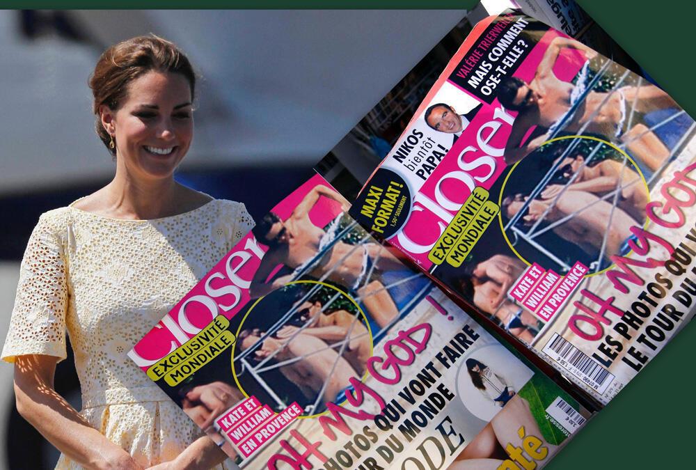 Fotomontagem da duquesa Kate Middleton, e das fotos de topless publicada pela revista Close.