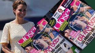 Fotomontagem da duquesa Kate Middleton, durante viagem na região do Pacífico, ao lado das fotos de topless publicadas pela revista Closer.