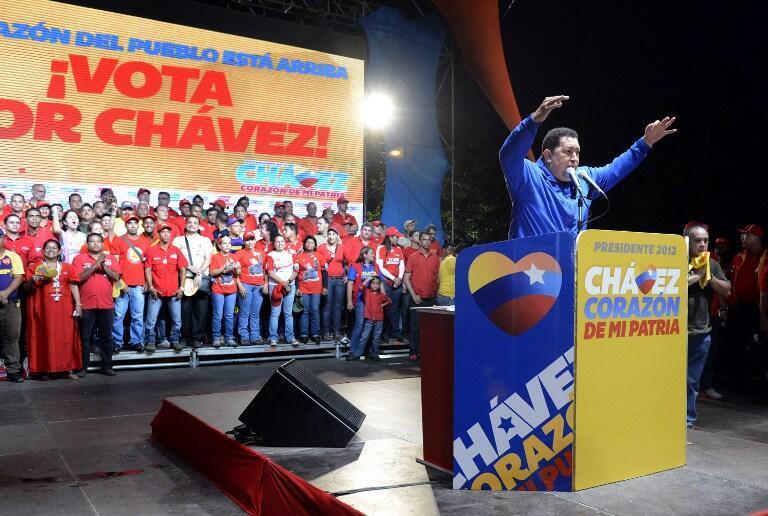 Hugo Chavez, lors d'un meeting de campagne à Monagas, dans le nord du Venezuela, le 28 septembre 2012.