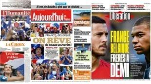 A semifinal entre França e Bélgica é uma das principais manchetes da imprensa nesta terça-feira (10).
