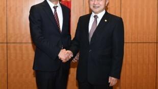 台灣國民黨籍高雄市長韓國瑜(左)會見香港中聯辦主任王志民,2019年3月22日。