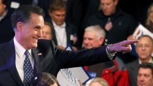 O pré-candidato republicano à Casa Branca, Mitt Romney, durante as primárias de seu partido em New Hampshire.