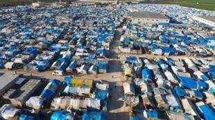 Vue aérienne du camp de Bab al-Salama en Turquie près de la frontière avec la Syrie.